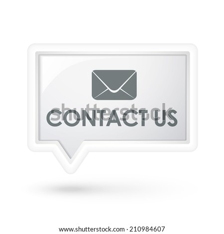contact us words with mail icon on a speech bubble over white - stock photo