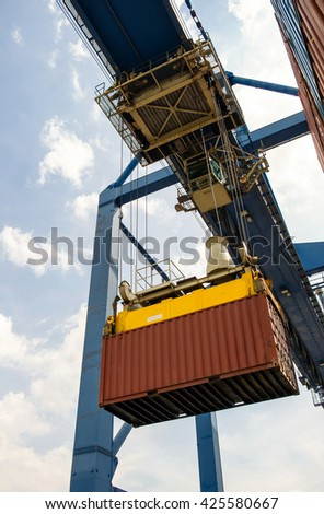 container box operation import and export to ship - stock photo