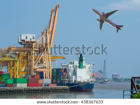 Container Cargo freight ship with working crane bridge in shipyard  for Logistic Import Export background - stock photo