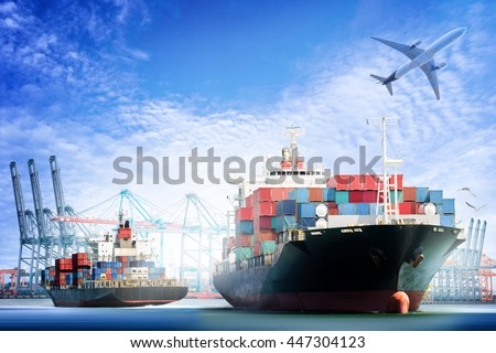 Container Cargo ship and Cargo plane with working crane bridge in shipyard background, logistic import export background and transport industry. - stock photo
