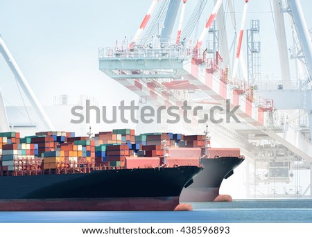 Container Cargo Ship with working crane bridge in shipyard background, Freight Transportation, Logistic Import Export background concept. - stock photo