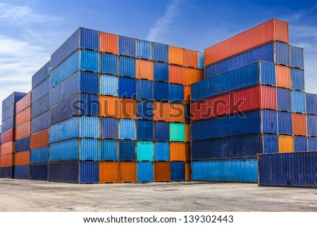 Container for export shipping on yard - stock photo