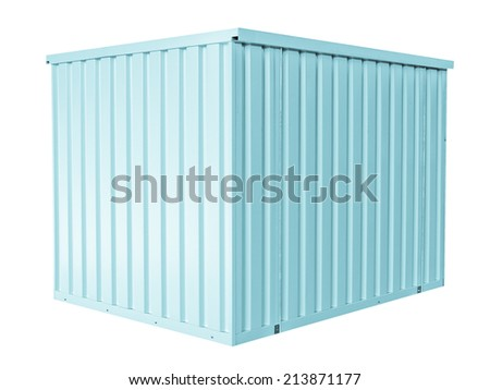 Container for freight shipping, isolated on white - cool cyanotype - stock photo