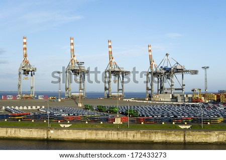 Container, harbour, Bremerhaven, Germany - stock photo