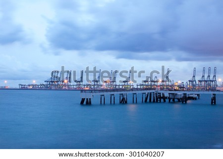 Container Industrial Port, Harbor in Singapore, Far East Asia - stock photo