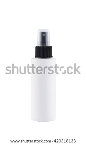 Container of spray bottle isolated over white background - stock photo