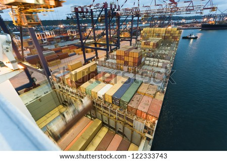container operation in port, Durban South Africa - stock photo