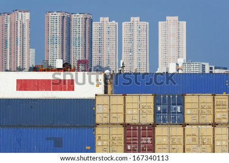 Container port in Hong Kong  - stock photo