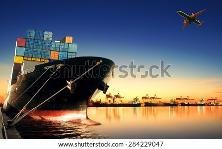 container ship in import export and business logistic - stock photo