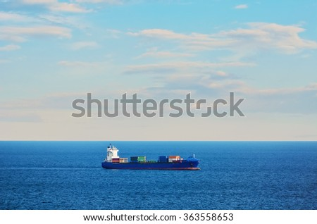 Container Ship in the Black Sea - stock photo