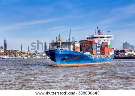 Container ship in the port of Hamburg - stock photo