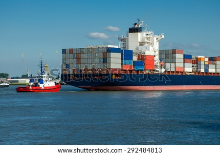 Container ship in the port of Rotterdam, Holland - stock photo