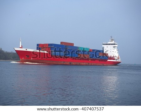 container ship on sky background - stock photo