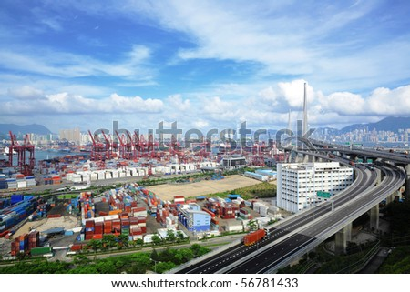 container terminal and stonecutter bridge in Hong Kong - stock photo
