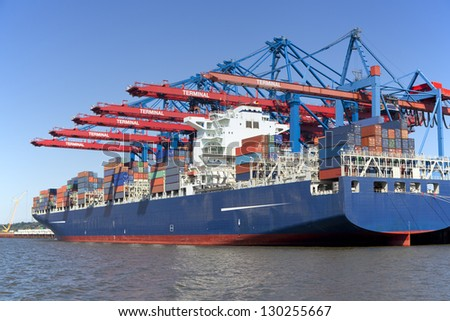 Container Terminal at Hamburg, Germany. Day light. - stock photo