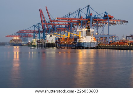container terminal, early morning - stock photo