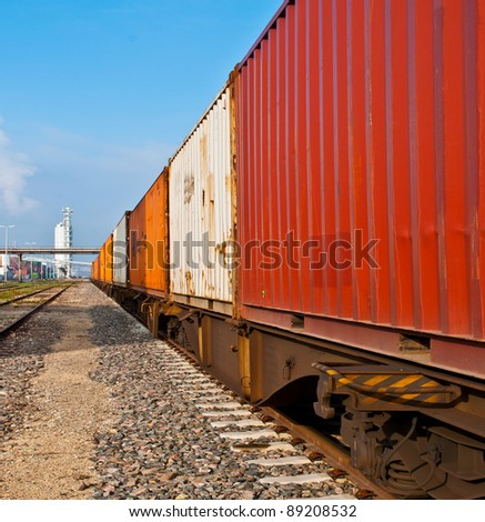 Container train on a railroad - stock photo