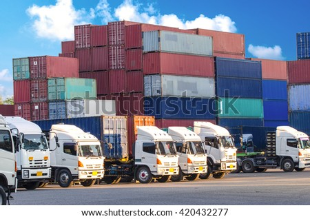 container truck ,ship in reight cargo plane in transport and import-export commercial logistic ,shipping business industry - stock photo