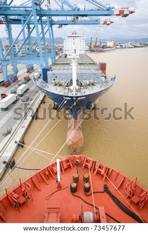 container vessels moored in the port (unusual perspective), this photo does not contain logos - stock photo