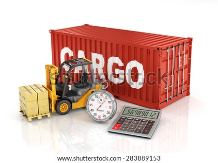 Container with forklift stacker loader holding cardboard boxes and stopwatch. Concept of delivering, shipping or logistics. - stock photo