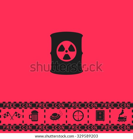 Container with radioactive waste. Black flat illustration pictogram and bonus icon - Racing flag, Beer mug, Ufo fly, Sniper sight, Safe, Train on pink background - stock photo