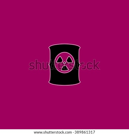 Container with radioactive waste. Black simple flat icon with white stroke - stock photo