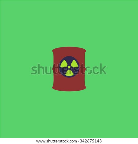 Container with radioactive waste. Colorful retro flat icon - stock photo