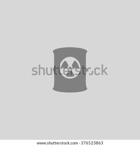 Container with radioactive waste. Grey simple flat icon - stock photo