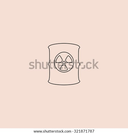 Container with radioactive waste. Outline icon. Simple flat pictogram on pink background - stock photo