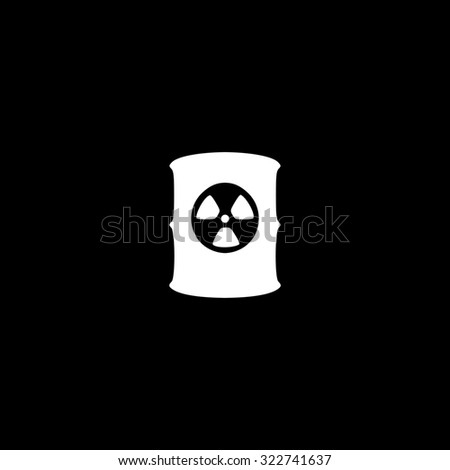 Container with radioactive waste. Simple icon. Black and white. Flat illustration - stock photo