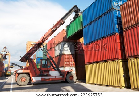 Containers ar at the harbor, Freight Transportation. - stock photo