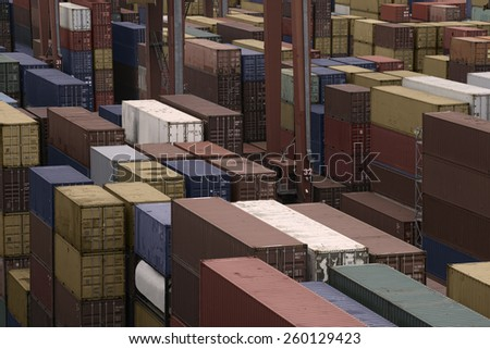 Containers in a Cargo freight Shipyard  - stock photo