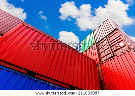 Containers in the port - stock photo