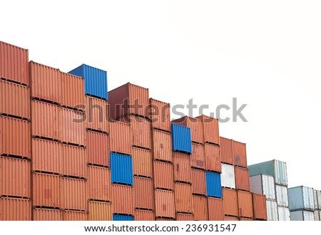 Containers in the port with isolated white background (clipping part for easy to use) - stock photo