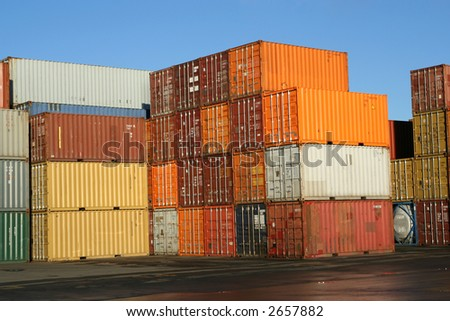 Containers on the ground - stock photo