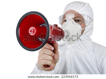 Contamination alert being announced by a person in a protective suit - stock photo