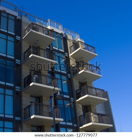 Contemparary apartment building in the city, Residential architecture - stock photo