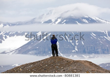 Contemplating the view on a cold morning - stock photo