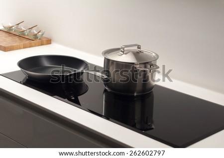 Contempoary, Clean and Bright Kitchen Hob - stock photo