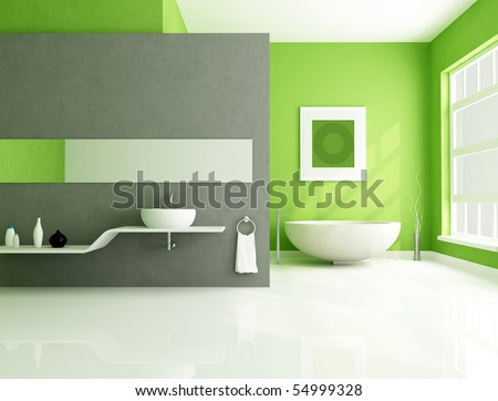contemporary bathroom with sandstone bathtub and white sink-rendering - stock photo