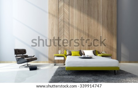 Contemporary bedroom interior with a double divan bed and cabinets in front of feature wood paneling and a comfortable armchair in a double-volume room. 3d Rendering. - stock photo