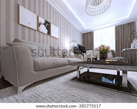 Contemporary design of modern living room with fashion sofa and coffee table. 3d render. - stock photo