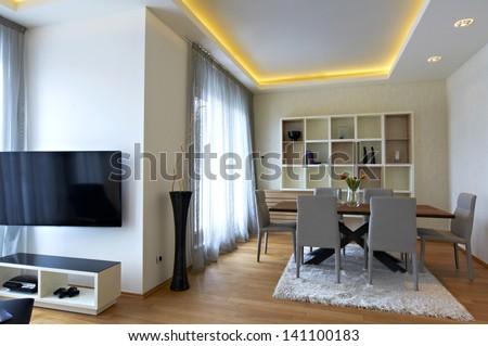 contemporary  dining room interior - stock photo