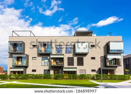 Contemporary eco friendly residential architecture in Ljubljana, Slovenia, Europe. - stock photo