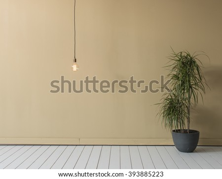 contemporary empty room flower with modern bulb - stock photo