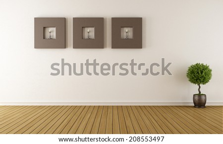 Contemporary empty room with brown frames with candles - rendering - stock photo