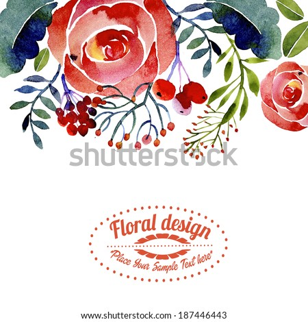 Contemporary floral greeting card or border design - stock photo