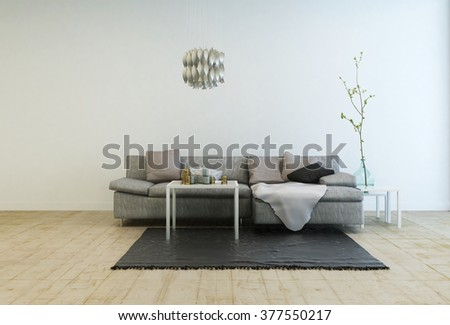 Contemporary Furniture in Spacious Living Room with Wooden Floor - Gray Sofa with Tables and Hanging Lamp in Large Living Room with White Walls and Copy Space - stock photo