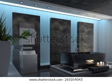 Contemporary Gray and White Architectural Home Bathroom Design with Green Plants in a Vase, Fresh White Flower Cuttings Decoration and Candles Near the Bathtub. 3d Rendering - stock photo