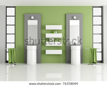 contemporary green bathroom with two fashion sink - rendering - stock photo